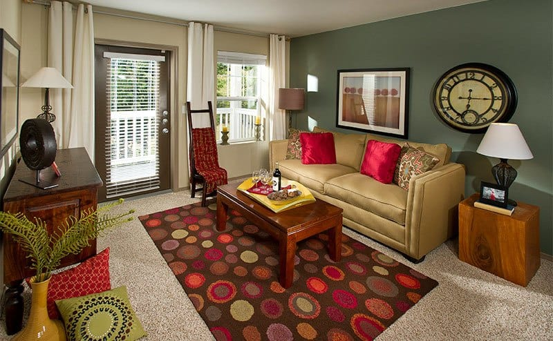 Bright living rooms at the apartments in Sammamish