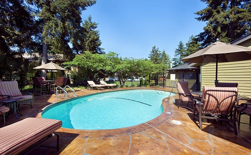 Safe pool area in Bellevue apartments for rent