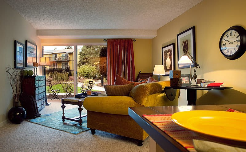 Bright living rooms at the apartments in Bellevue