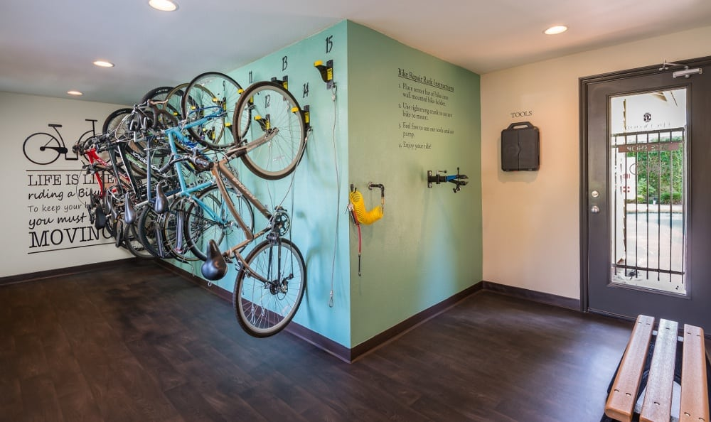Bike lock-up and repair center at Edgewood Park Apartments
