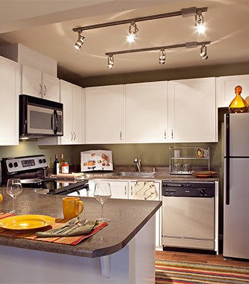 Modern kitchen area at the apartments for rent in Bellevue
