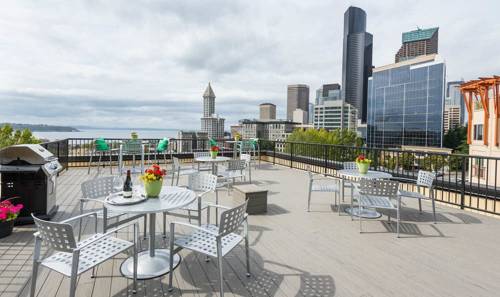 Roof deck at Metropolitan Park Apartments in Seattle, WA