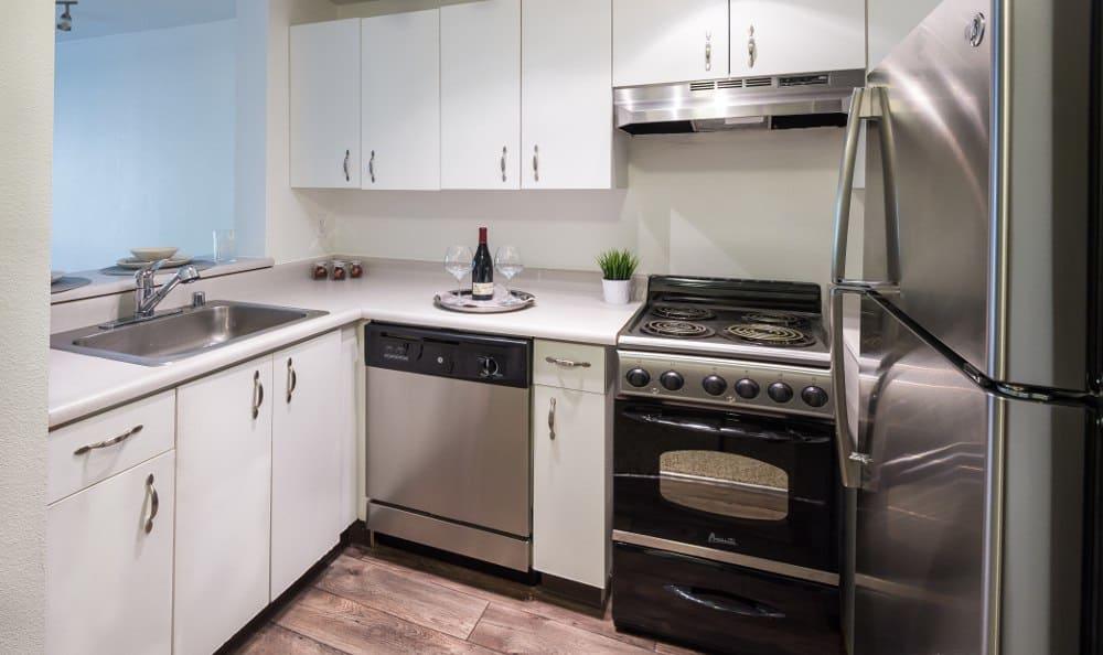 Kitchen At Metropolitan Park Apartments In Seattle, WA