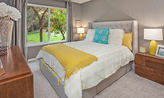 Bedroom at apartments in Kirkland, WA