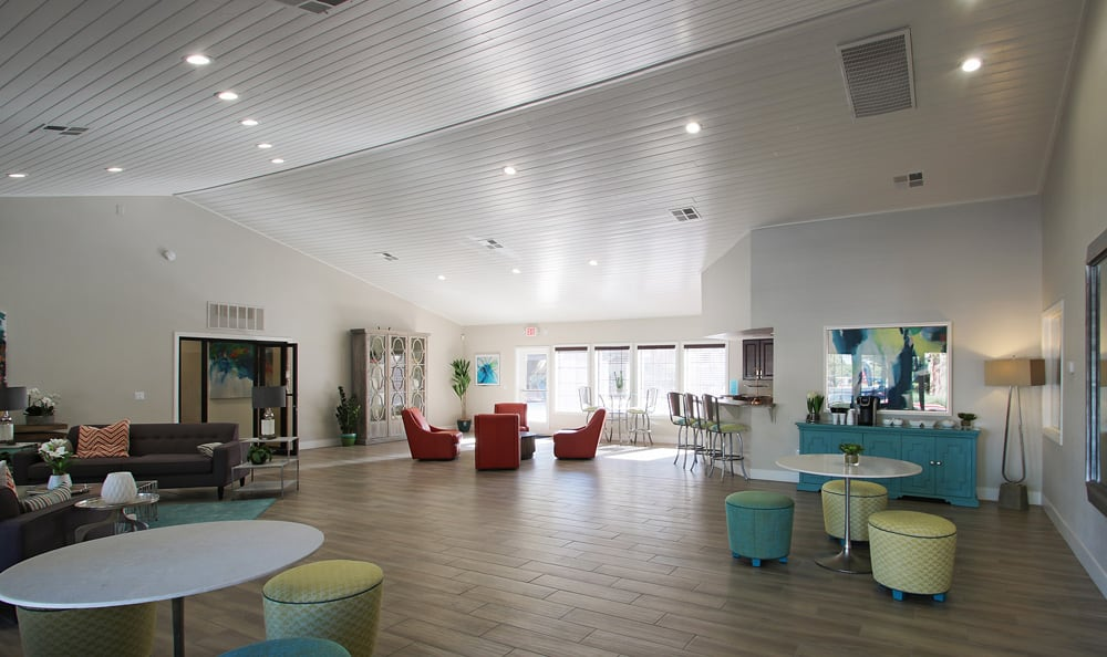 Modern community clubhouse at Crystal Creek Apartments