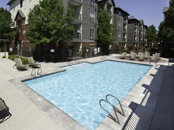 Enjoy the community amenities at Irving Schoolhouse Apartments