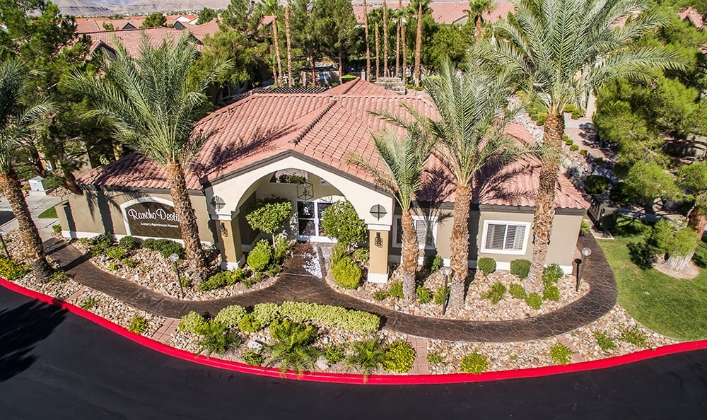 Aerial view of the beautiful apartments at Rancho Destino Apartments.
