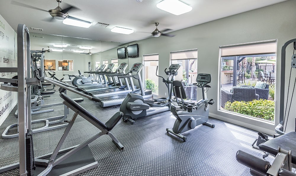 Rancho Destino Apartments features a new fitness facility for the community.