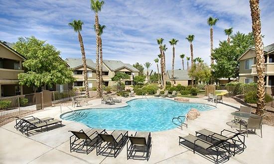 Beautiful pool at apartments in Las Vegas