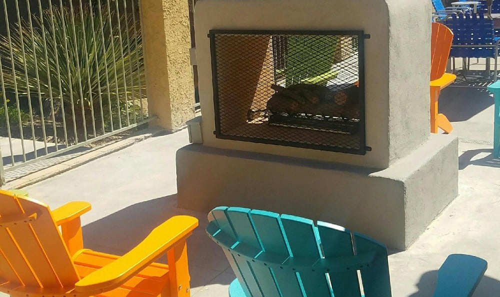 Outdoor fireplace at Las Vegas