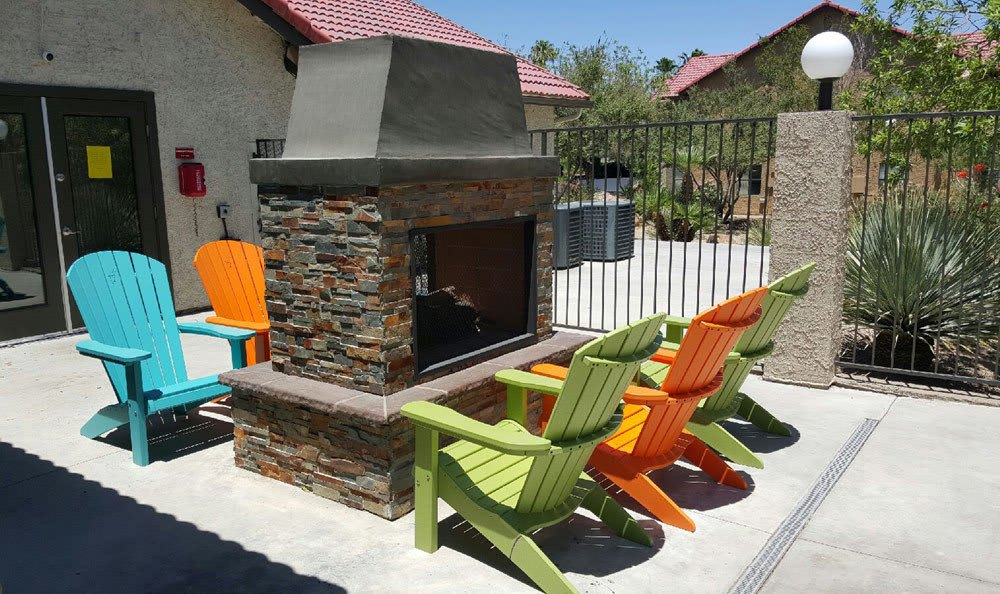 Outdoor fireplace for apartments at Las Vegas