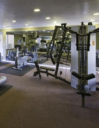Fitness center at apartments in Midvale