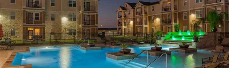 Amenities at Oak Forest include a sparkling pool.