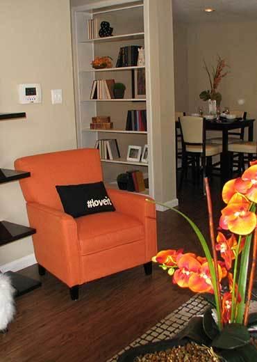 Living room at Baybrook Village in Webster, TX