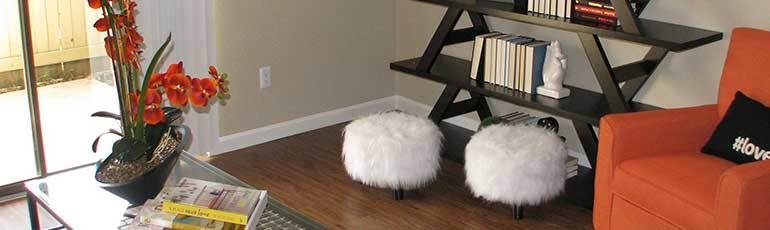 Amenities at Baybrook Village include fuzzy chairs.