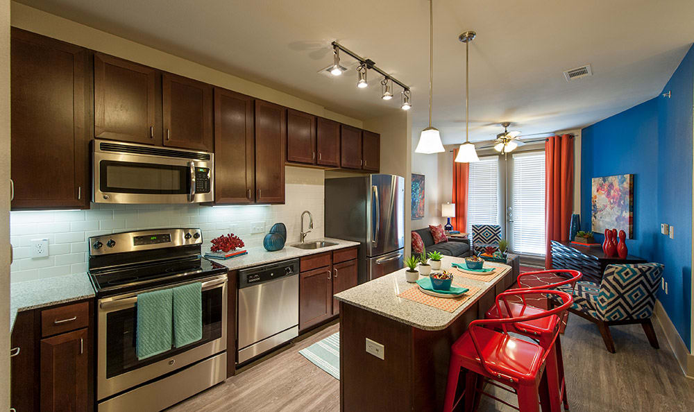 Model kitchen at Sunrise By The Park luxury apartments