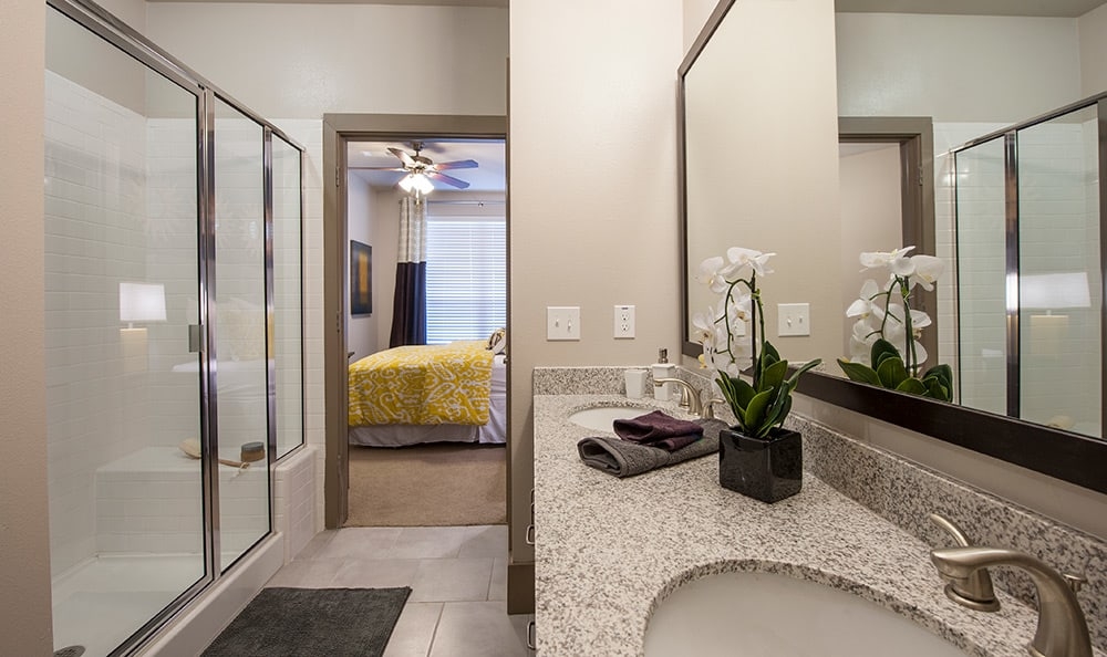 Luxurious bathroom in one of the model units at Sunrise By The Park