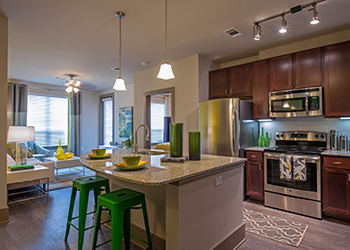 Luxurious kitchen at Sunrise By The Park apartments
