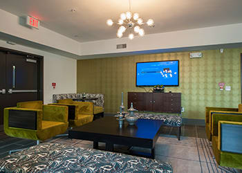 Flatscreen TV in the resident lounge at Houston apartments