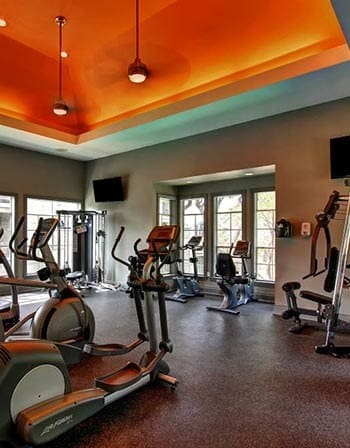 Modern exercise equipment at the apartments for rent in San Antonio