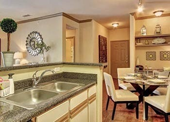 Model apartment kitchen in San Antonio