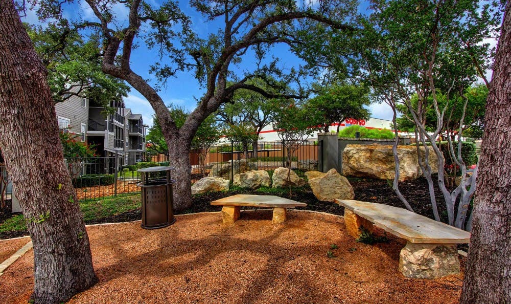 Outdoor seating and dog run at The Parq on the Boulevard