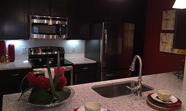 Kitchen With Stainless Steel Appliances at Sunrise Briar Forest