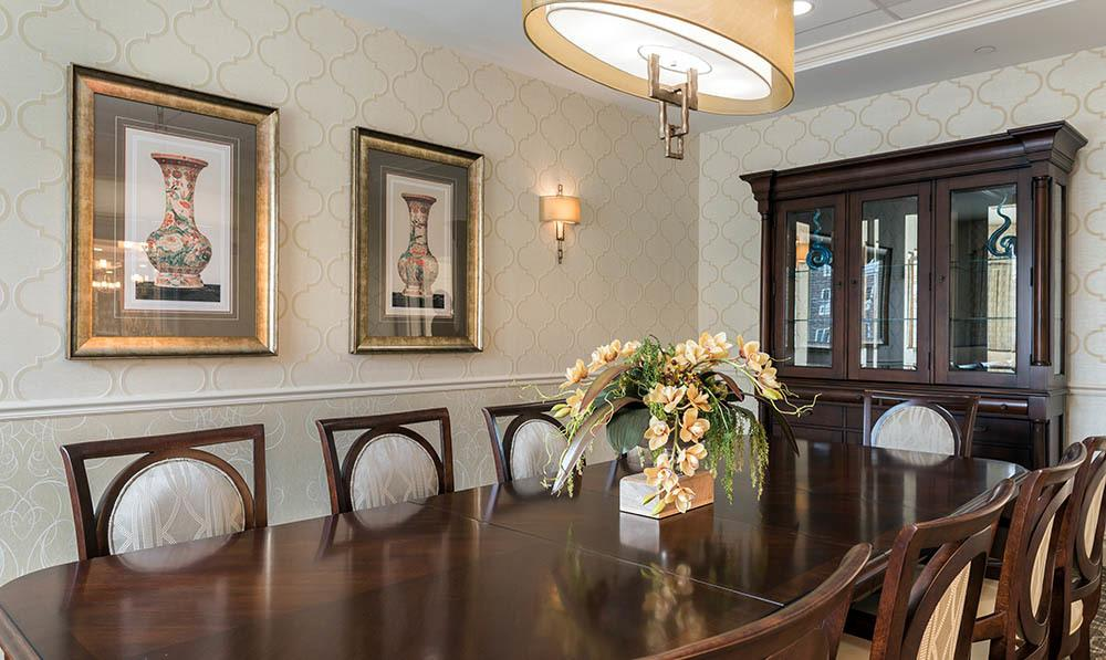 Private dining rooms at The Heathcote Dining Room at White Plains senior living