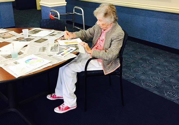 Art Class at Memory Care Community at The Ambassador of Scarsdale