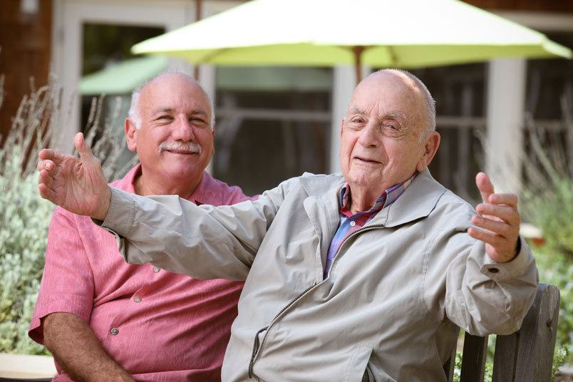 Dad and son spending time together at the senior living community in Irvine