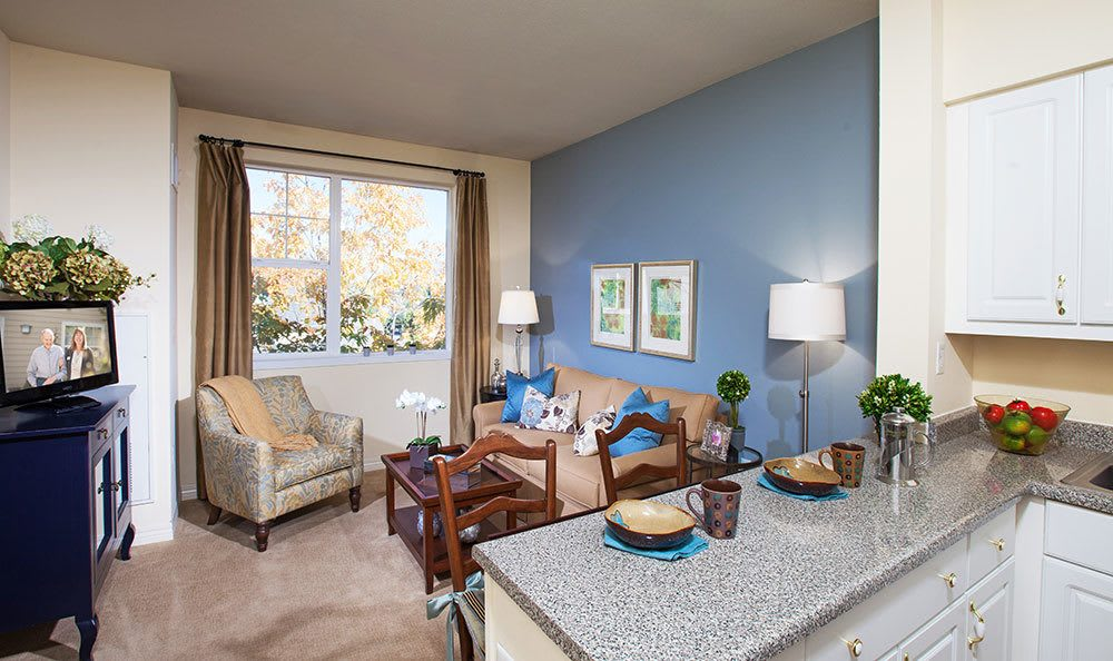 Bright living room area at The Wellington senior living community in Salt Lake City