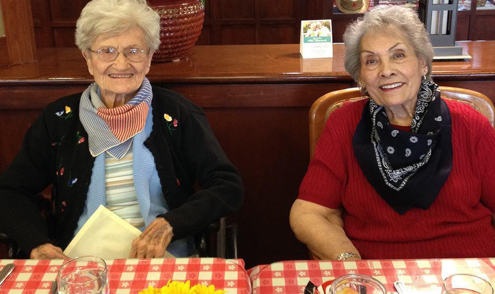 Residents eating food at The Wellington senior living community in Salt Lake City