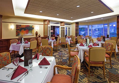 Open dining room at The Wellington senior living community in Salt Lake City