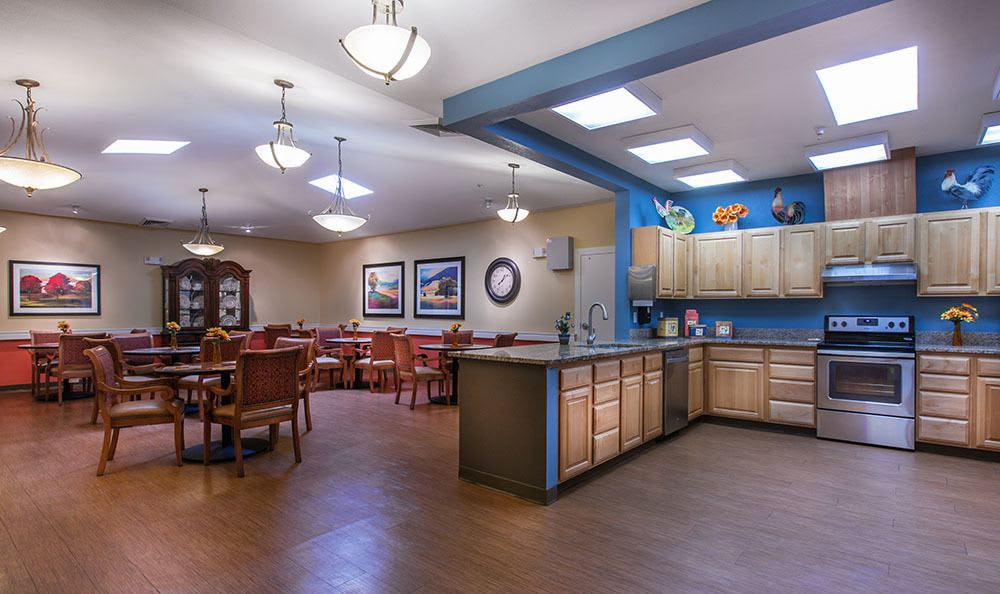 Spacious kitchen and dining area at the senior living community in Clearfield