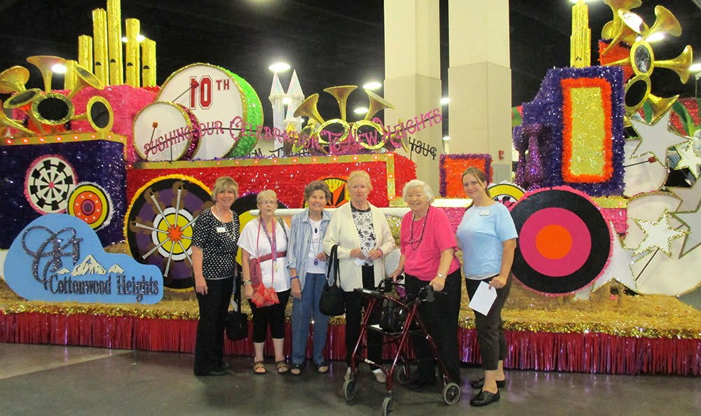 Residents with Cottonwood Creek's Holiday Float in Salt Lake City, UT