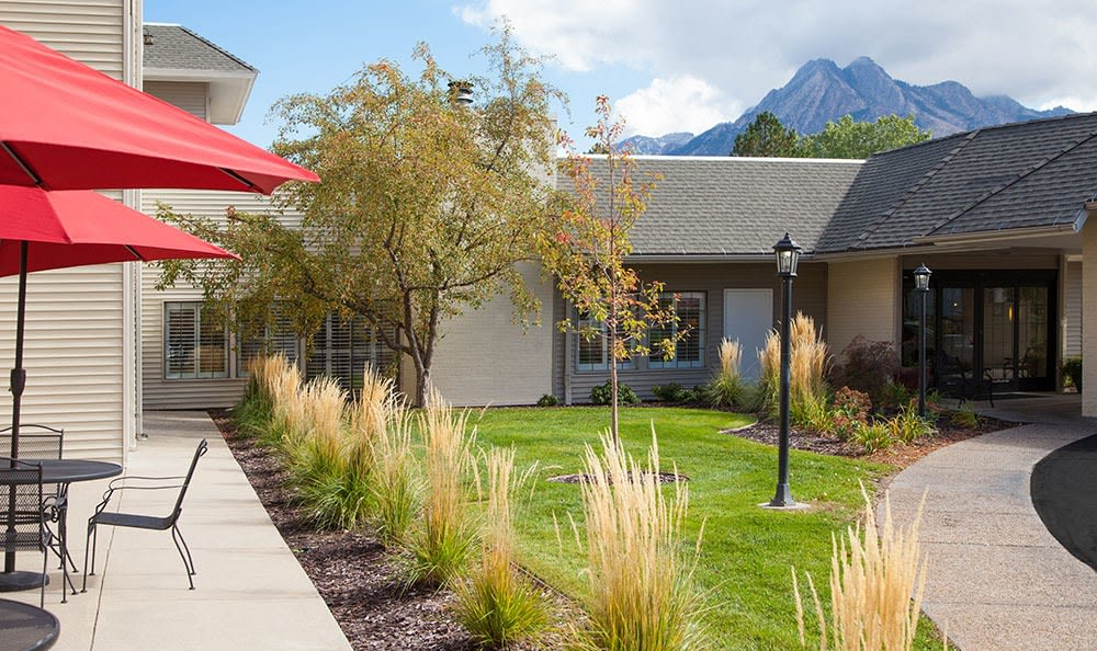 Clean exterior building at the senior living facility in Salt Lake City