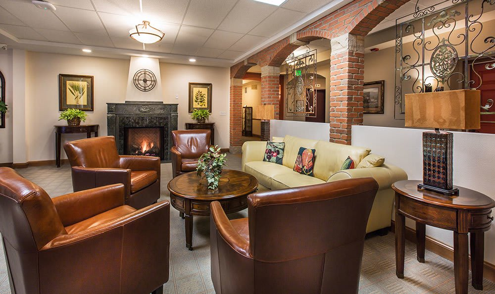 Salt Lake City senior living community has cozy sitting rooms with fireplaces
