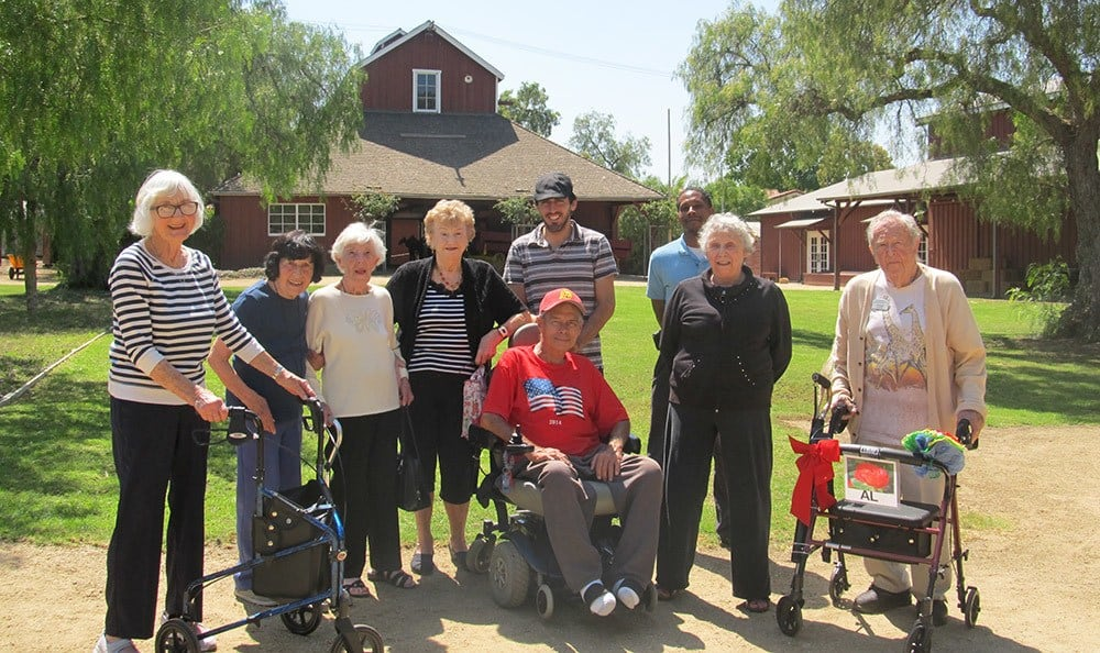 Happy group of senior residents in Huntington Beach