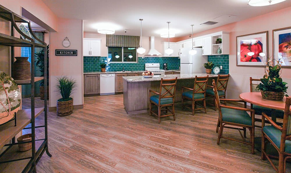 Open kitchen and dining room at the senior living community in Huntington Beach