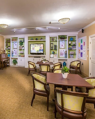 Dining area at the senior living community in Huntington Beach