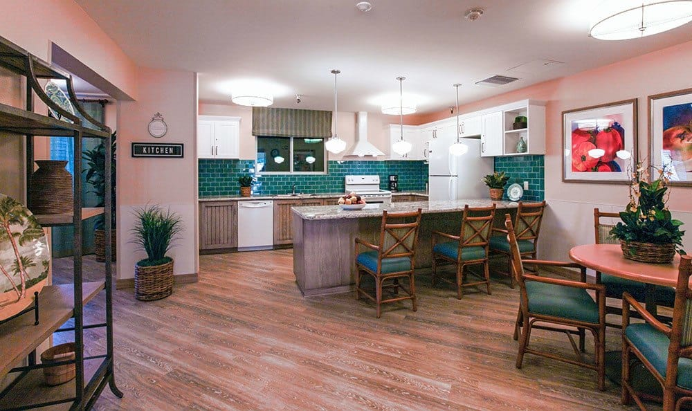 Huntington beach senior living featuring a cozy kitchen and great amenities