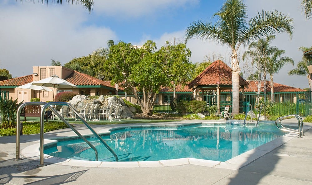 Tropical swimming pool in Huntington Beach