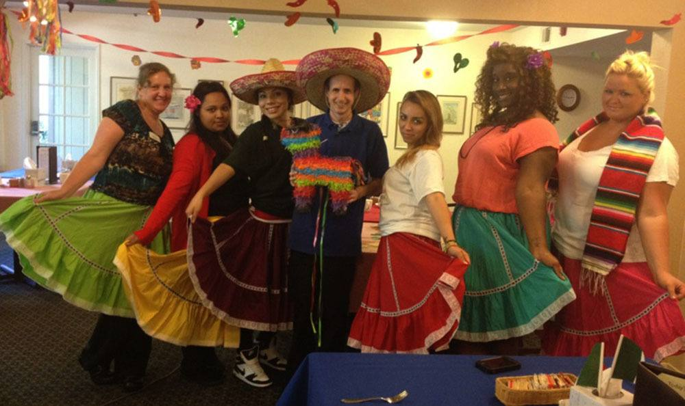 Employees celebrating with costumes in Santa Rosa senior living