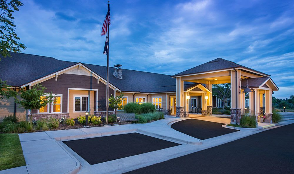 Seven Lakes Memory Care memory care senior living community front entrance at sunset