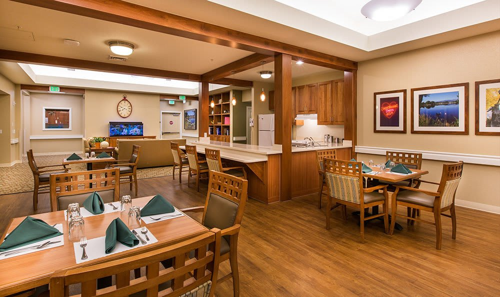 Seven Lakes Memory Care in Loveland offers beautifully decorated and spacious dining rooms
