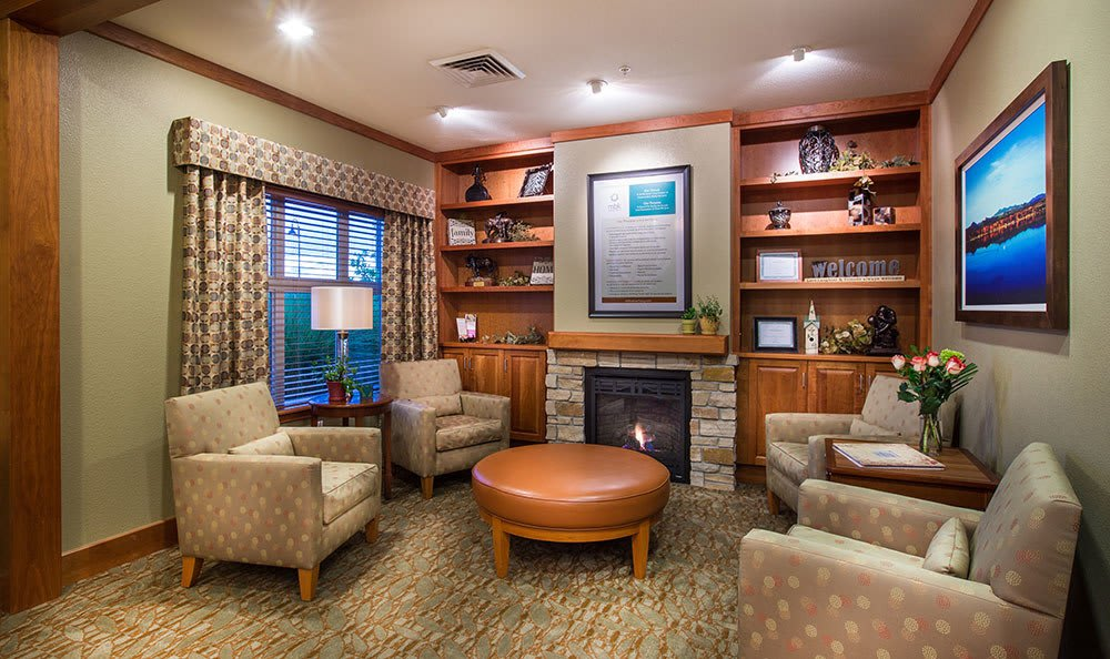 Beautifully decorated waiting room at Seven Lakes Memory Care senior living community in Loveland, CO