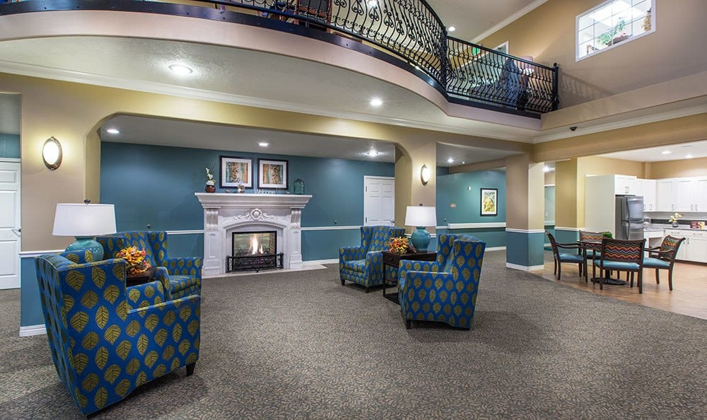 Salt Lake City senior living community has spacious sitting rooms with a fireplace