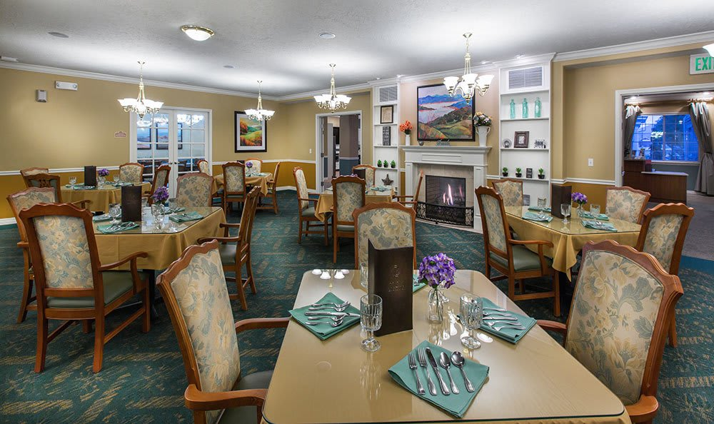 Beautifully decorated dining rooms at the senior living community in Cedar Hills