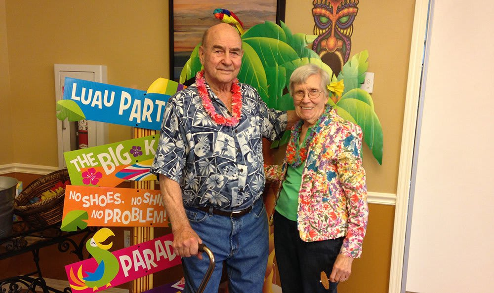 Luau-themed party at the senior living community in Cedar Hills