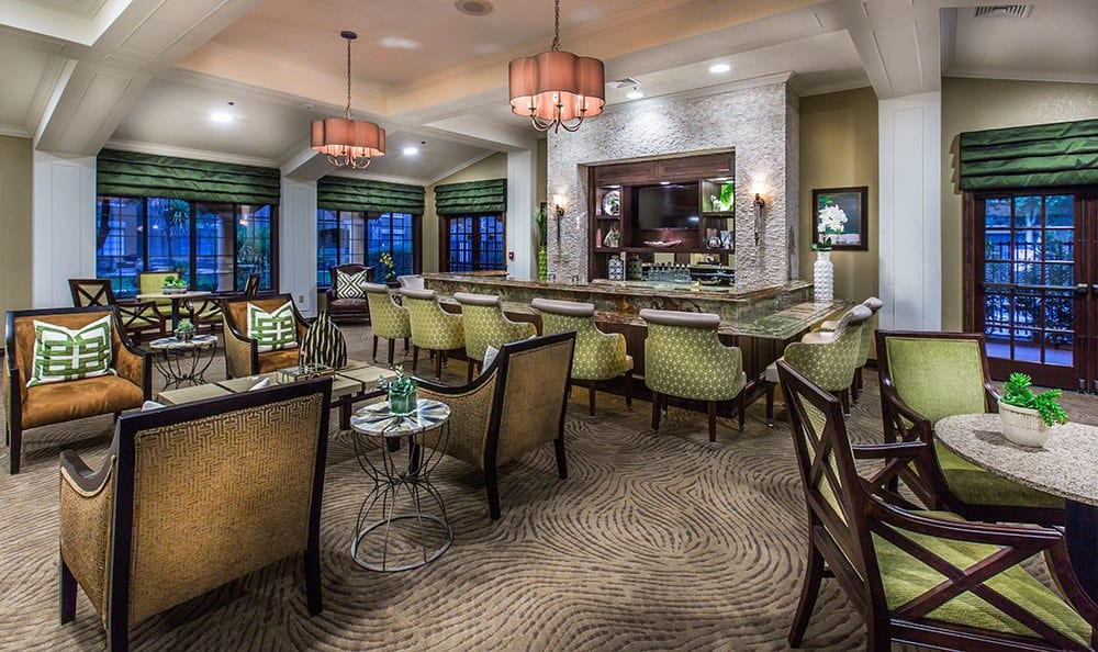 Tucson senior living community with stocked lounge area